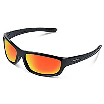 Duduma Polarised Sports Sunglasses for Baseball Running Cycling Fishing Riding Driving Golf with Unbreakable Frame Du645 (black frame with red mirror lens)