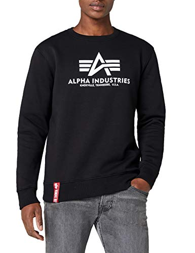 Alpha Industries Basic Sweater Maglione, Schwarz (Black 03), L Uomo