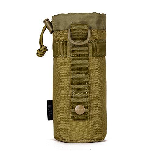 Huntvp Taktisch Flaschenhalter Militär Trinkflasche Beutel Molle 1000D Nylon Kessel Wasserflaschenhalter Langlebig Bottlehalter Bottel Carrier Wasserdicht - Braun 550mL -