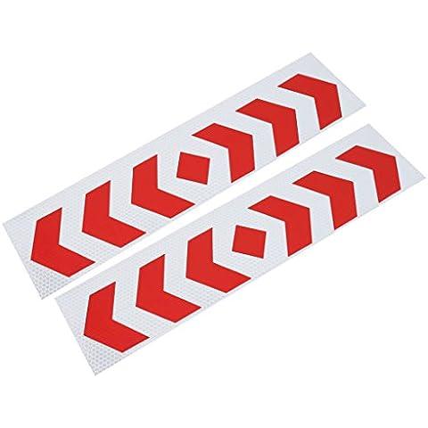 Reflectante Patrón De Flecha Pegatina Cinta Tono Plateado Rojo 2 Piezas para Camión