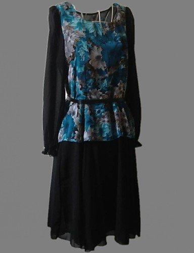 LYQ/ Robe Aux femmes Grandes Tailles Vintage / Mignon Mi-long Mousseline de soie screen color-m
