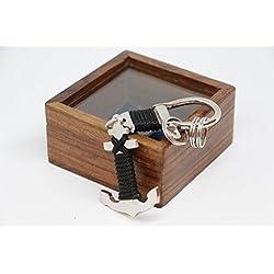 llavero ancla caja madera niquel nautica marinero capitan barco