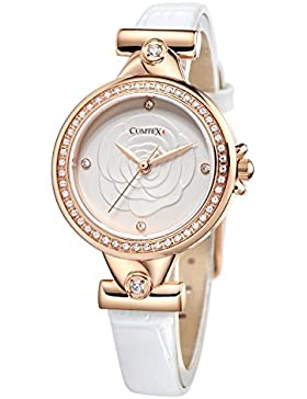Comtex Damen Uhren Rose gold Ton Kristall Weiß Leder Uhr Diamant Armbanduhr