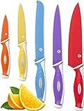 Vremi Colorido Set de Cuchillos de 10 piezas – 5 Cuchillos de cocina con 5 Cubiertas de cuchilla – Set de Cuchillos para Chef que incluye cuchillo para proposito de Chef y cuchillos para corte