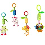 #2: TOYMYTOY Baby Stroller Toys Baby Plush Rattles Crib Bed Car Seat Cot Hanging Toys Interactive Playing Toy - 4pcs