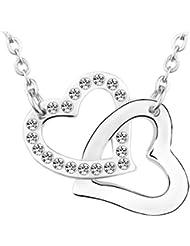 Le Premium - Collar con dije de corazones juntos hecho con elementos swarovski® cristal claro