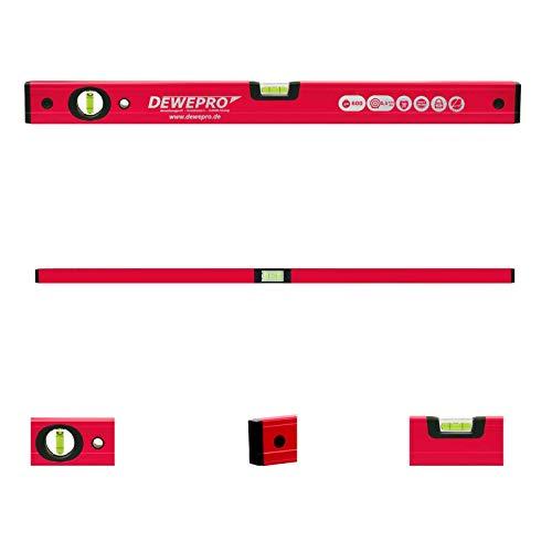 DEWEPRO® Profi Wasserwaage Aluminium - rot lackiert - Länge: 200cm 2m - Messtoleranz: 0,5mm/m - Aluwasserwaage Aluminiumwasserwaage