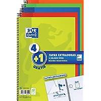 Oxford - Pack de 5 cuadernos (tapa extradura, 80 hojas, cuadrícula 4x4 con margen) Lima/Rojo/Naranja/Verde/Azul Marino