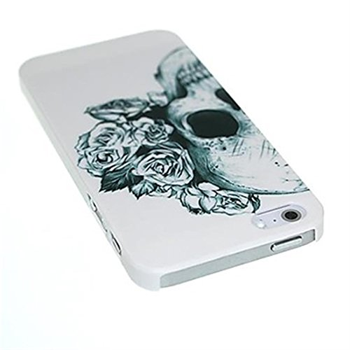 NightKid custodia Estetica del cranio e del fiore pallido (iPhone 6S Plus iPhone 6S iPhone 6 Plus iPhone 6 iPhone 5C iPhone 5/5S iPhone 4/4S )(iPhone 5/5S,Bianco)