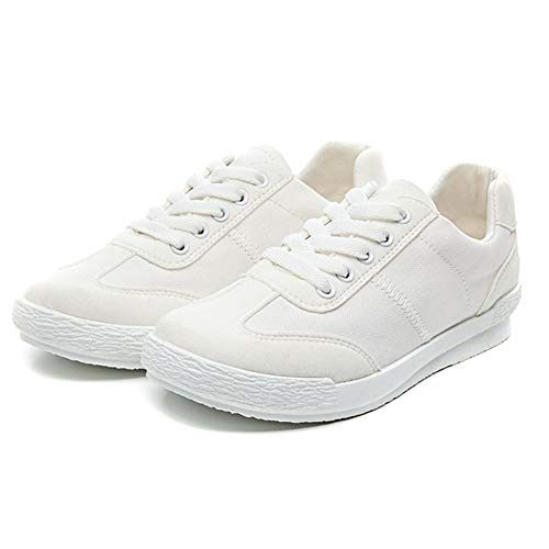 Scarpe Donna Sneakers di Tela Traspirante Lace Up Scarpe da Tennis Superiori Bassi Leggeri Addestratori Pattini Piani Casuali