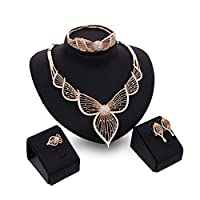 MJARTORIA Women Bridal Wedding Necklace Bracelet Ring Earring Jewelry Set