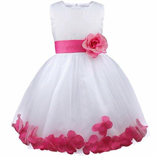 d Pinzessin Blumen-Mädchen Kinder Weiß Kleid Hochzeit Festkleid Kommunionkleid 92 98 104 110 116 128 140 152 164 Dunkel Rosa 98 (Blumen-mädchen-hochzeits-kleider)