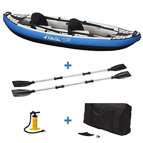 KANGUI Canoë Kayak Hinchable Azul de 1 a 2 plazas + Remo + Bolsa de Transporte + Bomba de Doble acción + Kit de reparación