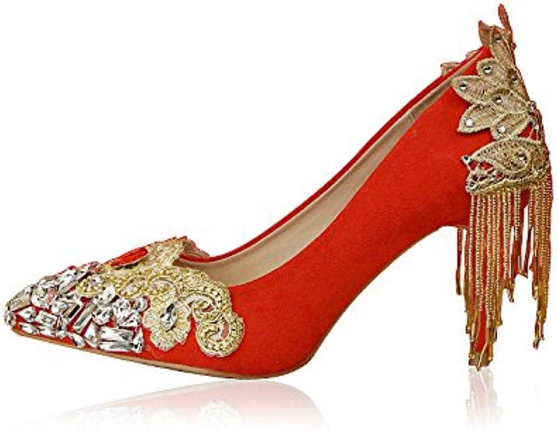 VIVIOO Prom Sandals Crystal scarpe Wedding scarpe Bride scarpe rosso rosso rosso Single scarpe Female Water Drill,8-9Cm Heel,7 | A Prezzo Ridotto  | Uomo/Donna Scarpa  717b2e