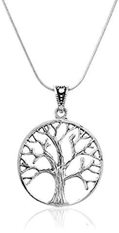 925 Sterling Silver Beautiful Vintage Style Tree of life Pendant on Alloy Necklace Chain, 18 inches by Chuvora