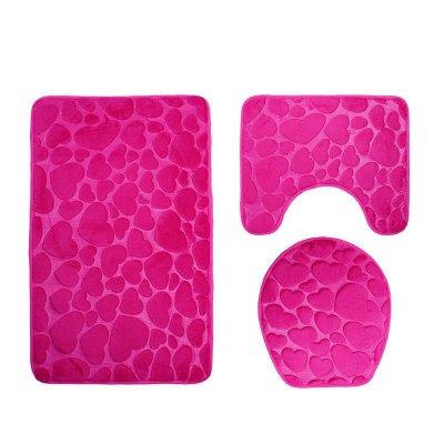 Alumuk Badematten Set 3 teilig, Toilettenmatte Set, 3er Badgarnitur Badezimmer Matte Set Dusch Bade Matte Vorleger Teppich 3D Muster für Wohnzimmer, Schlafzimmer, Schwimmbad Toilet (Love Rosa)
