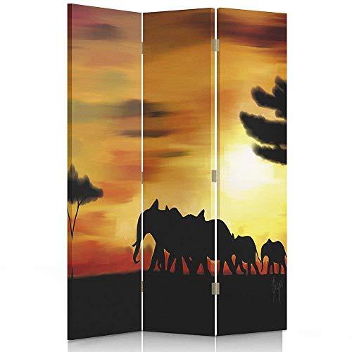 Feeby Frames. Raumteiler, Leinwand Wandschirme, dekorative Trennwand, Paravent beidseitig, 3 teilig (110x180 cm), Ansicht, Elefanten, Sonnenuntergang, SCHWARZ, ORANGE -