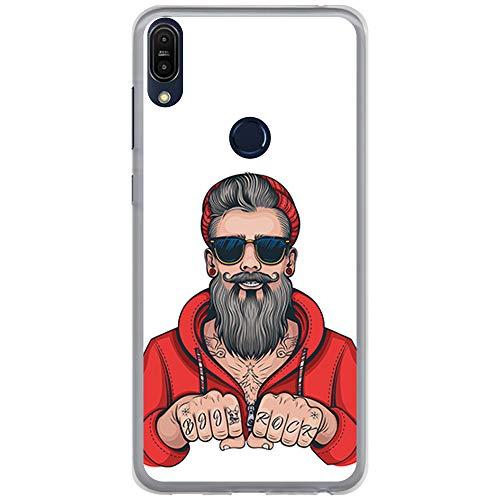 BJJ SHOP Funda Transparente para [ ASUS Zenfone MAX Pro M1 ZB601KL ], Carcasa de Silicona Flexible TPU, diseño: Hombre Hipster, Tatuajes con Barba y Gafas de Sol