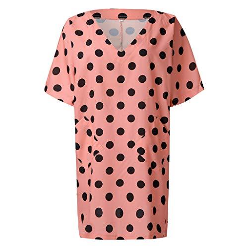 SSUPPLY Polka Dot Kleid Damen V-Ausschnitt Halbarm Kleid Ruffle Party Minikleid 3/4 Bell Sleeve Swing Freizeitkleid Damen Punkte Kleid Sommerkleider Kurzarm Freizeitkleider