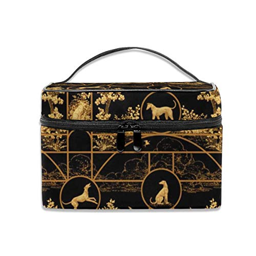 Portable Travel Toiletry Bag Organizer,Autumn Black and Gold Medium,Cosmetic Bags for Women Girl,Makeup Bag, Storage Bag (Overhead Bag)