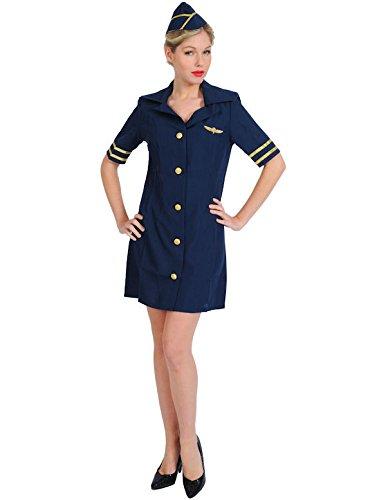 Sexy Stewardess Kostüm Karneval in Blau Mottoparty Verkleidung -