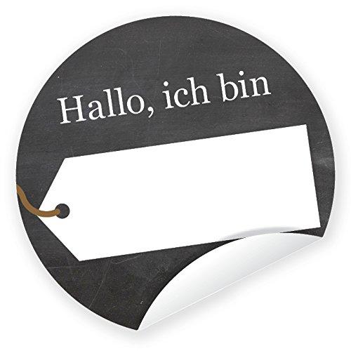 Aufkleber 'Kennenlernen' schwarz 24 Stück (4 cm) zum Selbstbeschriften Hochzeit