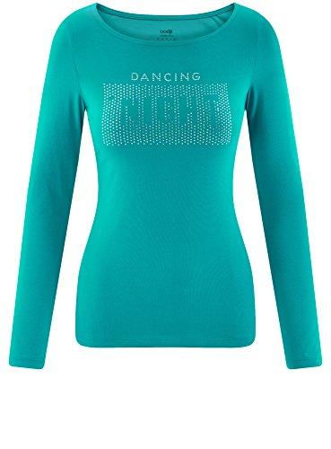 oodji Collection Femme T-Shirt sans Étiquette Manches Longues Vert (6D73P)