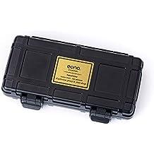 Eono Essentials, umidificatore da viaggio per sigari, contenitore ermetico resistente agli urti, in legno di cedro, impermeabile, contiene fino a 3 sigari, colore nero