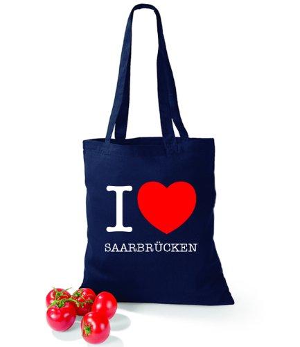 Artdiktat Baumwolltasche I love Saarbrücken French Navy