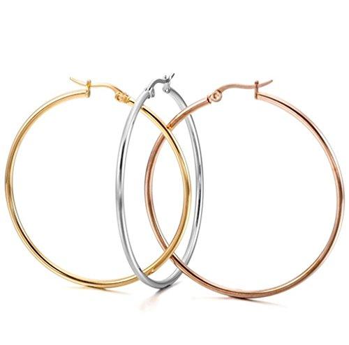 Bliqniq 3 Paare Edelstahl Creolen Ohrringe Silber Rosegold Damen 50mm Rund Groß Hängend Rosegold Farbgeld Silberweiß Modeschmuck für Frauen (Große Ohrringe Modeschmuck)