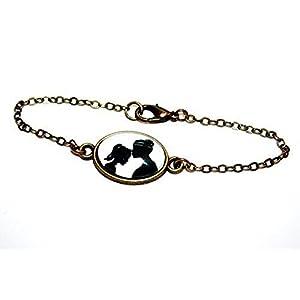 Große und kleine Schwester – Handmade Freundschafts Scherenschnitt Armband bronze,16-17cm, ein süßes Geschenk für die beste Freundin oder liebste Schwester