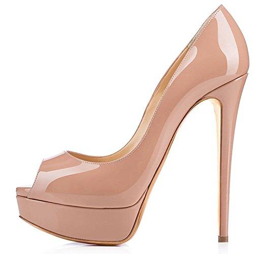 ELASHE - Zapatos para Mujer - Tacón de Aguja -15CM Peep Toe - 3CM Plataforma Tacones Mujer Fiestas...