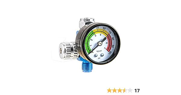 Mini Druckluft Druckregler 13mm Druckminderer mit Manometer für Lackierpistole