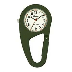Ravel NightGlo GreenClip On Doctors Nurses Carabiner Pocket Fob Watch R1105.11NG