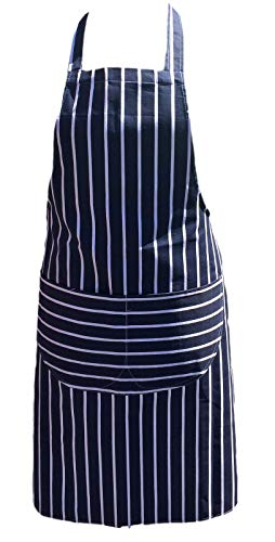 St@llion Kochschürze, gestreift, für Männer und Frauen, professionelles Kochen, Kochen, Grillen, mit Taschen (freie Größe), Baumwolle, blau/weiß, Free Size