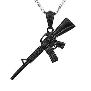 bijou des hommes collier pendentif mini fusil de l 39 arm e cadeau collier lecteur cs m4a1 amazon. Black Bedroom Furniture Sets. Home Design Ideas