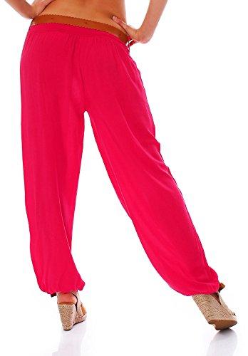 Moda Italie Mesdames Pantalon Harem Pantalon Sarouel Pantalon d'été pour femme Taille Basse avec ceinture unie Taille unique Fuchsia
