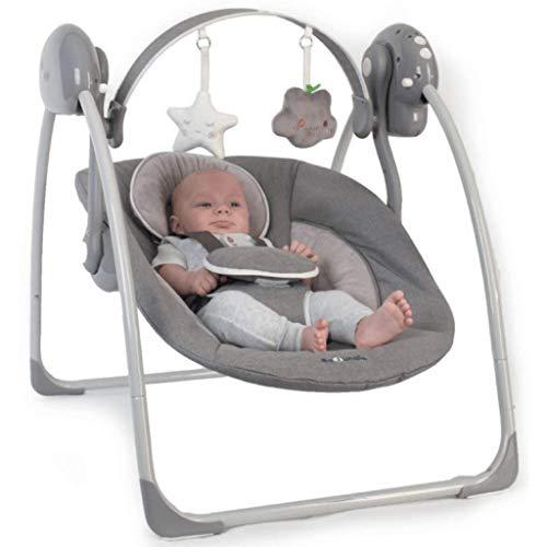Bo Jungle B-tragbare Babyschaukel mit Spielbogen, elektrische Babywippe mit Musik und Timer grau B700310