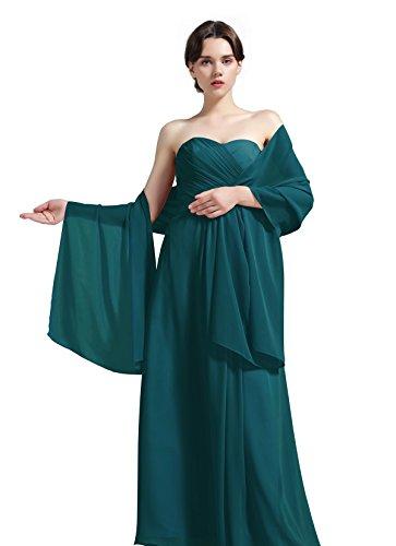 on, für Brautjungfern Hochzeit Party Abendkleid, Shawl-01-Ivory, Elfenbein,  - Petrol - Gr. Teal ()