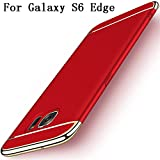 Galaxy S6 edge Case,Heyqie 3 in 1 Ultra-thin 360 Full Body Anti-Scratch Shockproof Hard PC Non-Slip Skin Smooth Back Cover Case with Electroplate Bumper for Samsung Galaxy S6 Edge - Red