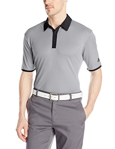 adidas Golf Men's Climacool Birdseye Solid Polo Shirt, Black/White/Black, X-Large (Climacool Pique Polo-shirts)