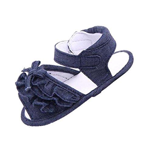 Culater® Bébé Antidérapants Sandal Chaussures Tout-petits Marcheurs Premières Chaussures de Toile (11cm, Bleu Clair) bleu foncé