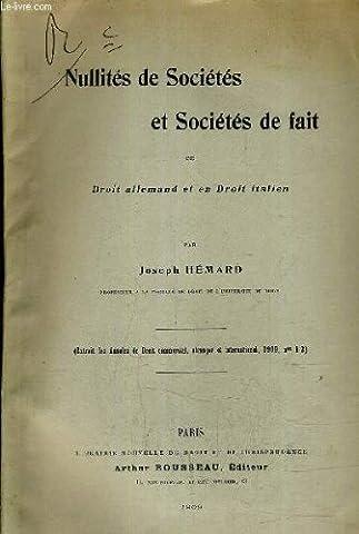 Hemard Droit - NULLITES DE SOCIETES ET SOCIETES DE FAIT