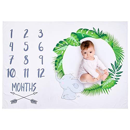 Beinou monatliche Baby Meilenstein Decke Neugeborenen Foto Decke Fotografie Hintergrund Prop Meilenstein Matten Wachstum Decke Baby Alter Decken Mädchen Jungen Swaddling Decke (145x100cm) -