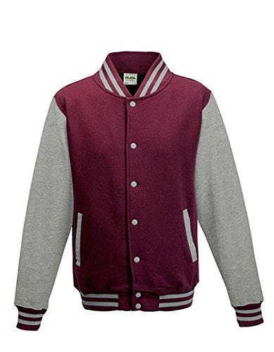 Just Hoods - Unisex College Jacke 'Varsity Jacket' BITTE DIE JH043 BESTELLEN! Gr. - M - Burgundy/Heather ()