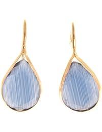 Córdoba Jewels | Pendientes en plata de ley 925 bañada en oro. Diseño Lágrima Calcedonia Oro