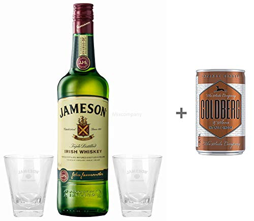 Jameson Irish Whiskey 1,0l (40{82d875e2965f17fed98cf0b636219f7828b927577c8e3c6f299c43072f4389af} Vol) + 2x Tumbler Bar Longdrink Glas Gläser Whisky - [Enthält Sulfite] + Goldberg Intense Ginger 0,15l EINWEG