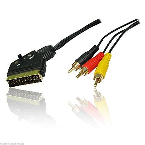 1.5m Mètre péritel vers 3RCA phono câble AV Audio Vidéo commutateur Doré TV