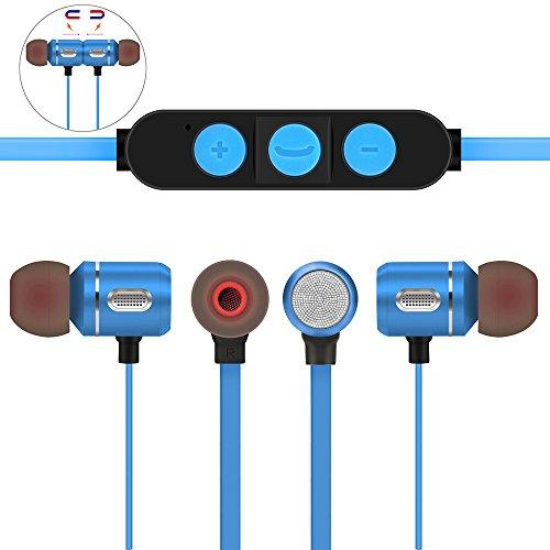 Preisvergleich Produktbild Xshuai Leichte Präzision entwickelt 6mm Treiber fortschrittliche Technologie Universal Wireless Kopfhörer Bluetooth 4.1 Stereo Sport Earbuds Magnetic Headset Mic Für Ios Android (Rot / Schwarz / Blau) (Blau)