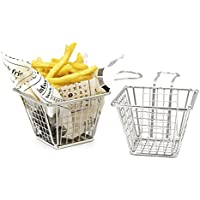 mannily 2pcs Mini Fry cesta cuadrada de acero inoxidable cesta de la freidora presente frito Chip